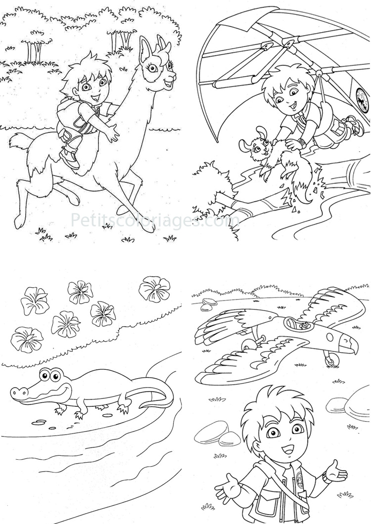 Petits coloriages Diego deltaplane, avion, crocodile, lama