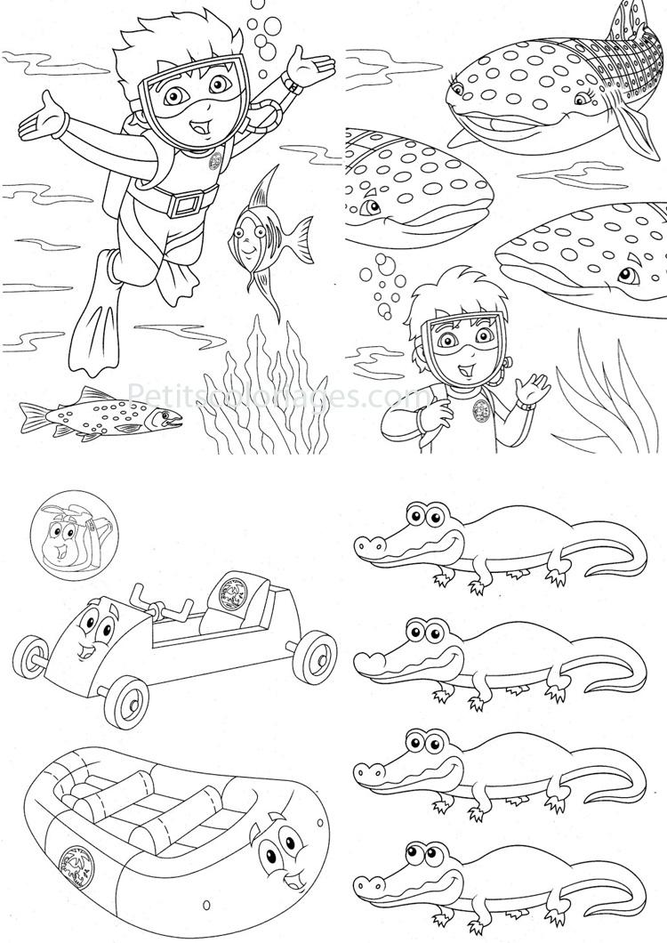 Petits coloriages Diego sac, plongée, poisson, baleine