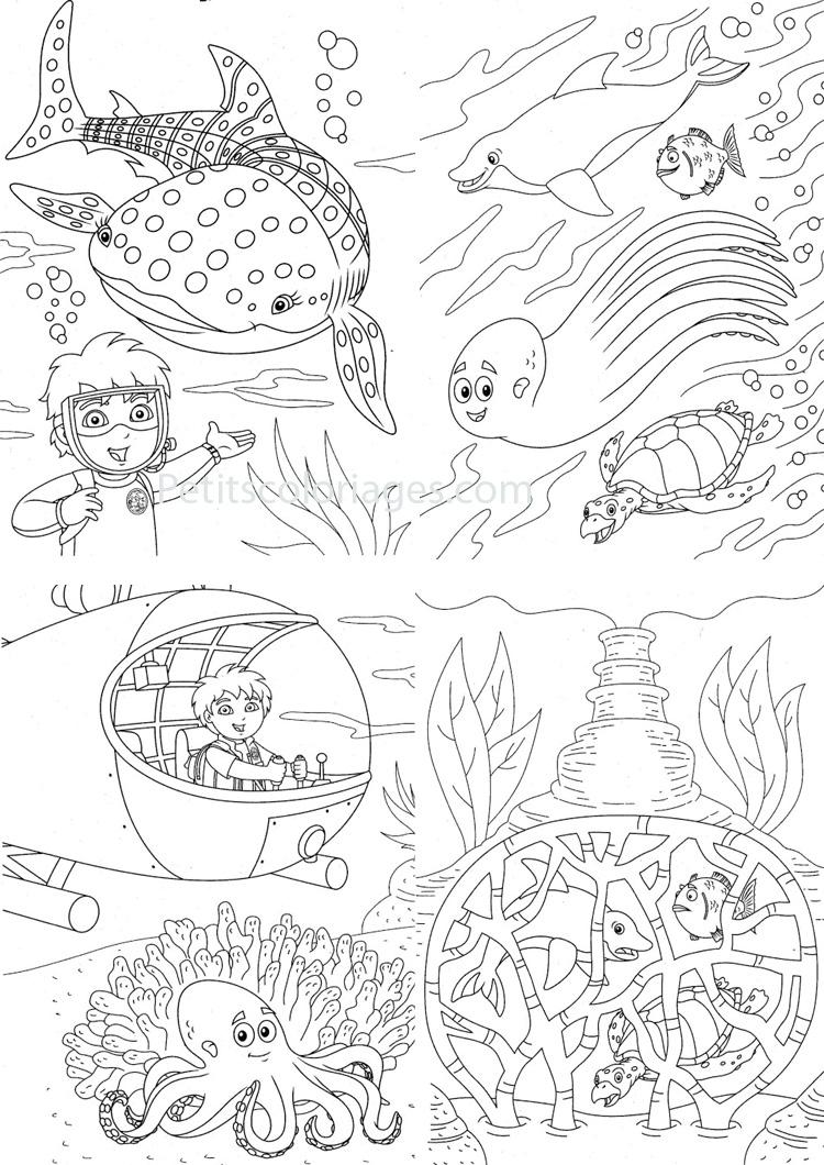 Petits coloriages Diego sous-marin, plongée, poisson, baleine