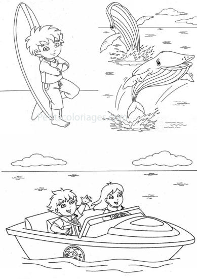 4 petits coloriages Diego : dora, baleine, plage