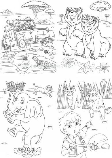 4 petits coloriages Diego : lion, éléphant, alicia