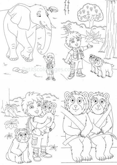 4 petits coloriages Diego : diego, éléphant, alicia