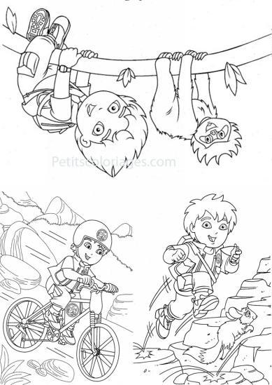 4 petits coloriages Diego : vélo, escalade, sport