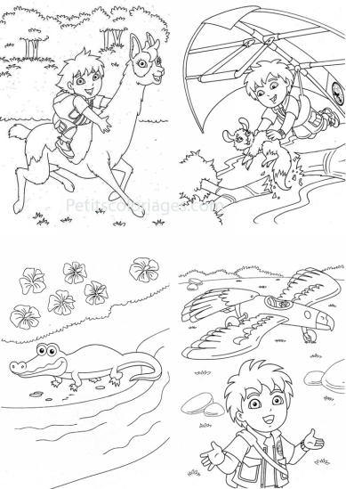 4 petits coloriages Diego : diego, deltaplane, avion, crocodile, lama
