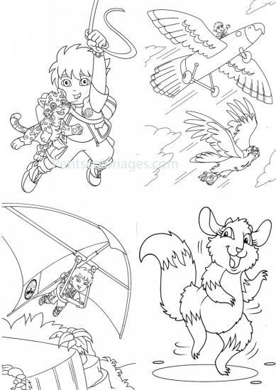 4 petits coloriages Diego : deltaplane, avion, bébé, jaguar