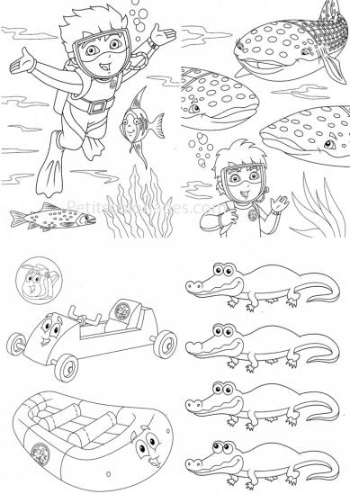 4 petits coloriages Diego : sac, plongée, poisson, baleine