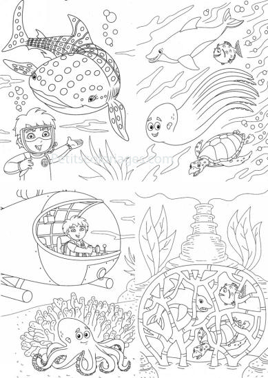 4 petits coloriages Diego : sous-marin, plongée, poisson, baleine