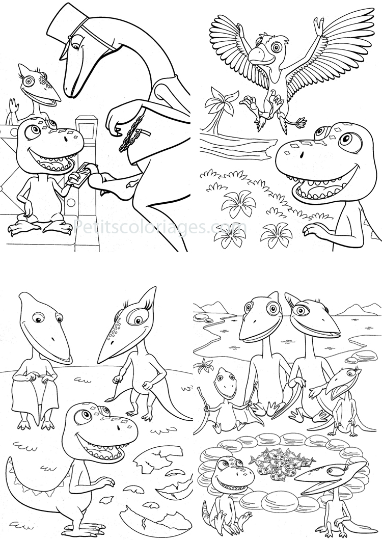 Petits coloriages Dino train sami, boris, controleur