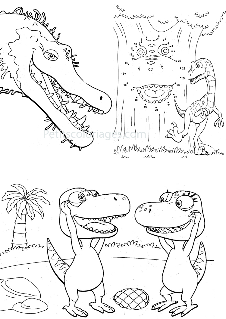 Petits coloriages Dino train sami, boris, jeu