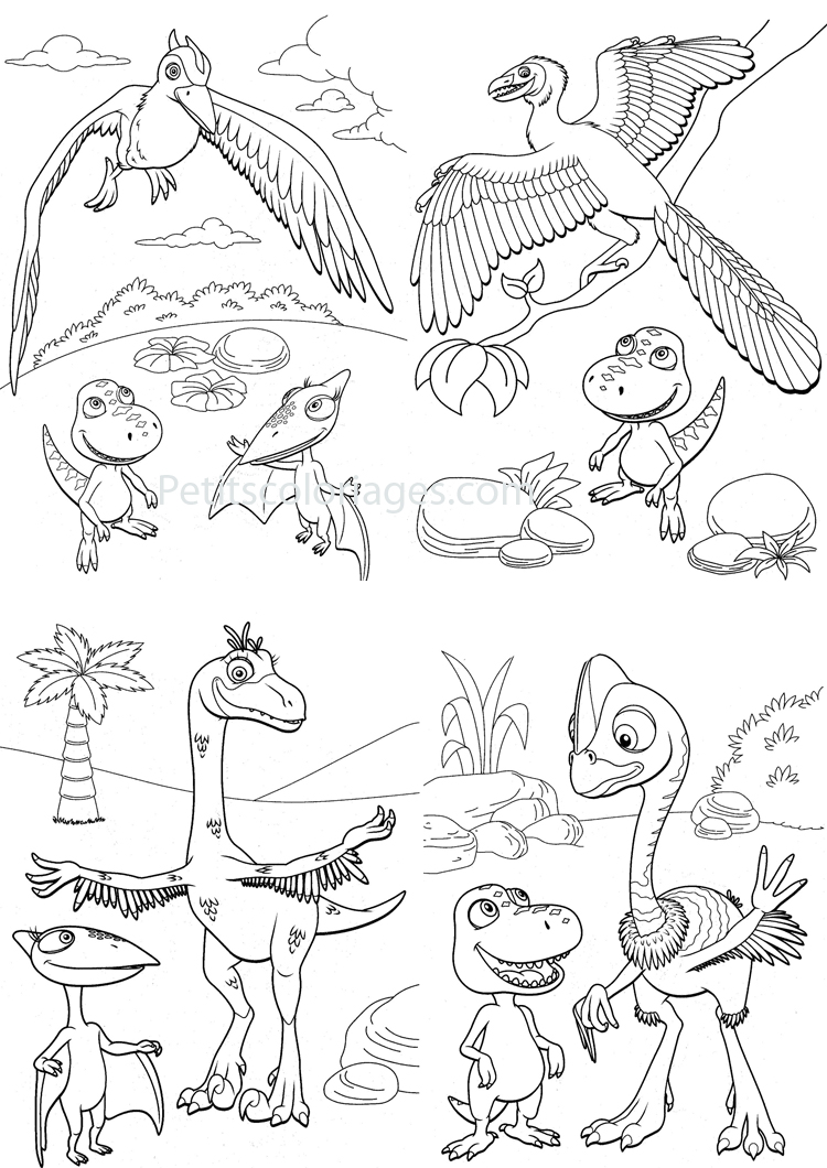 Petits coloriages Dino train sami, tiny, fred