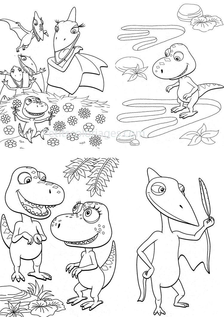 Petits coloriages Dino train sami, tiny, fleur