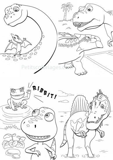 4 petits coloriages Dino train : sami, boris, tiny