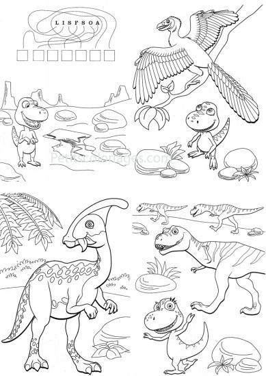 4 petits coloriages Dino train : sami, boris, jeu