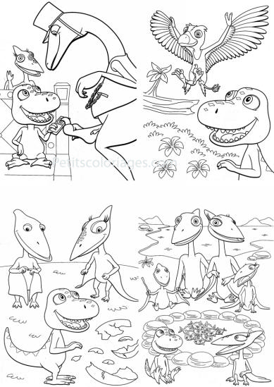 4 petits coloriages Dino train : sami, boris, controleur