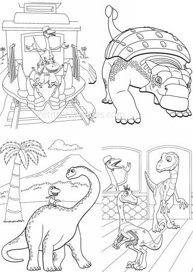 4 petits coloriages Dino train : sami, franck, controleur