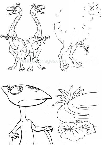 4 petits coloriages Dino train : sami, tiny, jeu