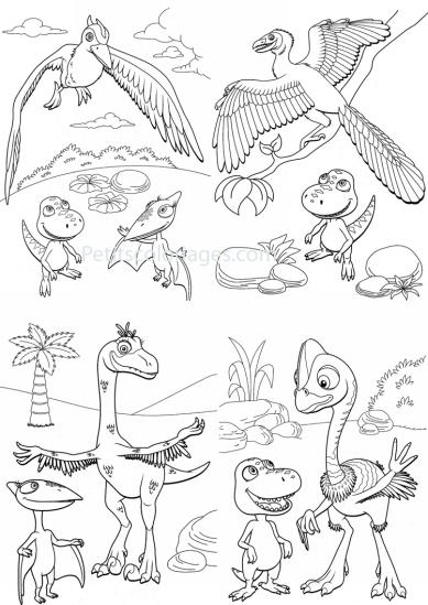 4 petits coloriages Dino train : sami, tiny, fred