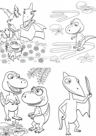 4 petits coloriages Dino train : sami, tiny, fleur