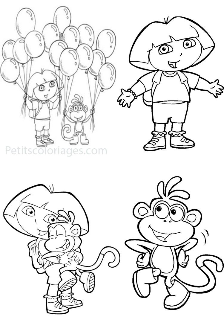 Petits coloriages dora babouche singe, ballons