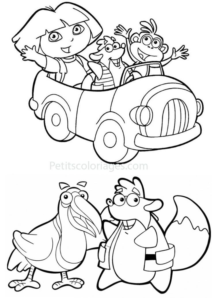 Petits coloriages dora voiture, tico écureuil, mister toucan