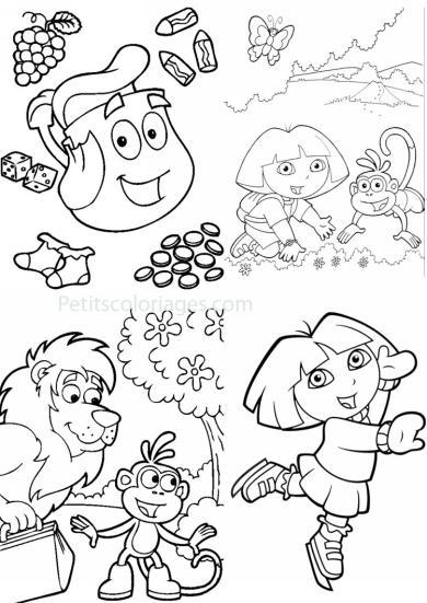 4 petits coloriages dora : sac à dos, singe babouche, patinage, lion