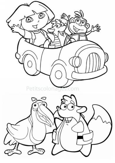 4 petits coloriages dora : voiture, tico ecureuil, mister toucan