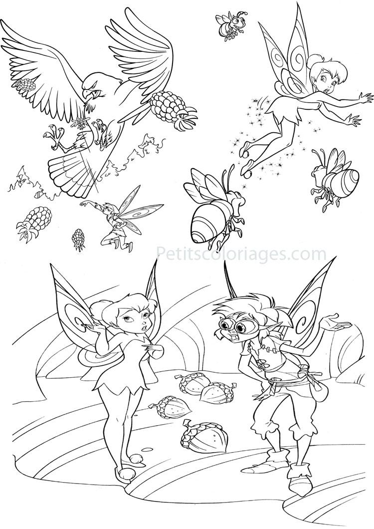 Petits coloriages Fée clochette gabble, aigle, bourdon, glands