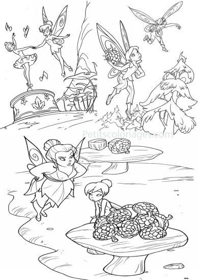 4 petits coloriages Fée clochette : danseuse, roselia, fée, marie
