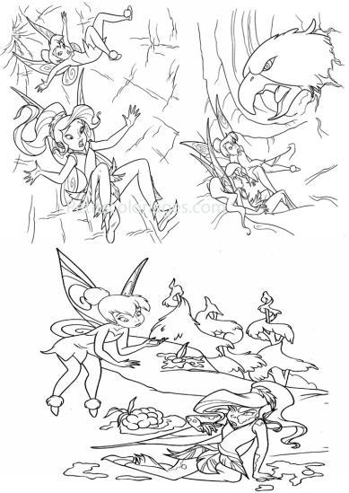 4 petits coloriages Fée clochette : aigle, rosélia, fée, arbre