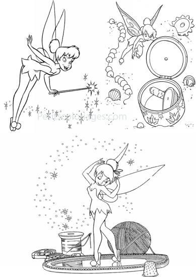 4 petits coloriages Fée clochette : laine, baguette magique, fée