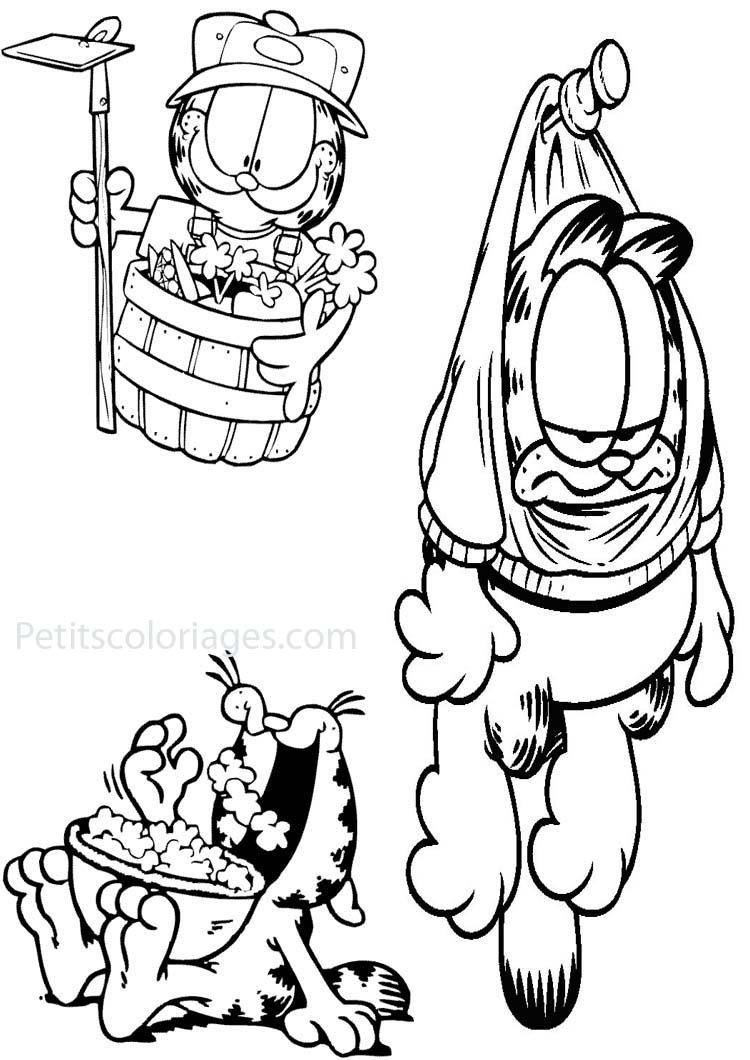 Petits coloriages garfield jardinier, punaise, pop corn