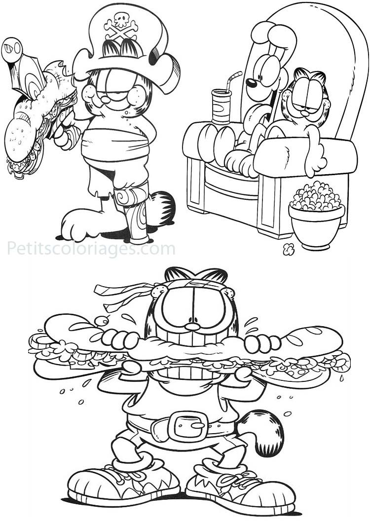Petits coloriages garfield pirate, sandwich, rambo, odie, canapé