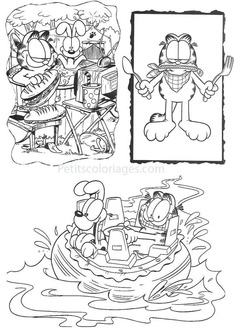 Petits coloriages garfield odie, piscine, bateau, fourchette