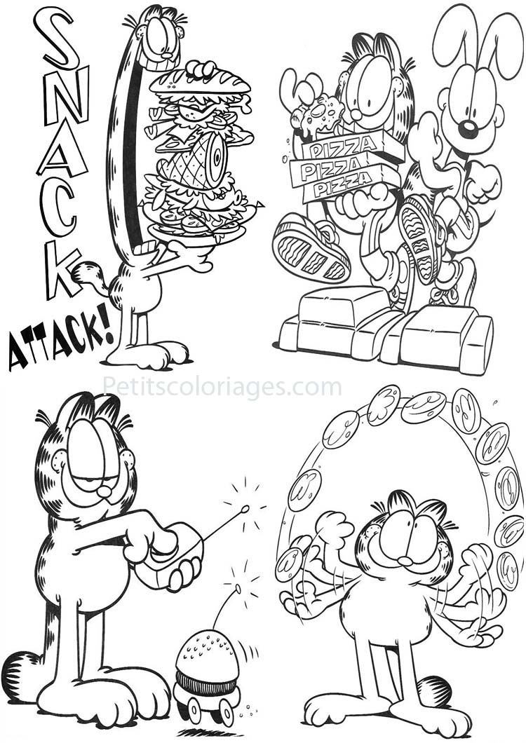 Petits coloriages garfield pizza, hamburger, odie, chien