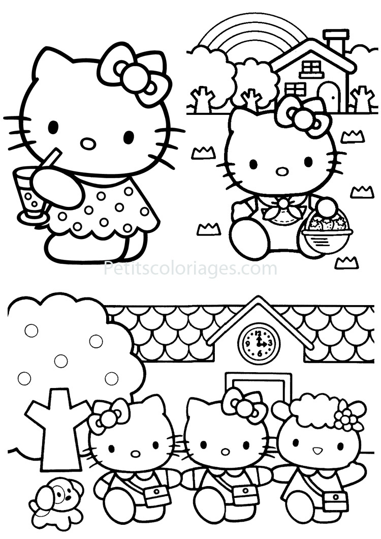 Petits coloriages hello kitty maison,mouton,chien