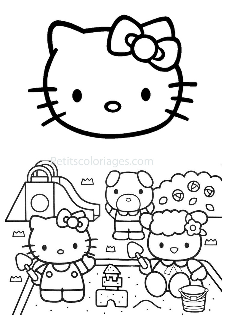 Petits coloriages hello kitty tête,toboggan