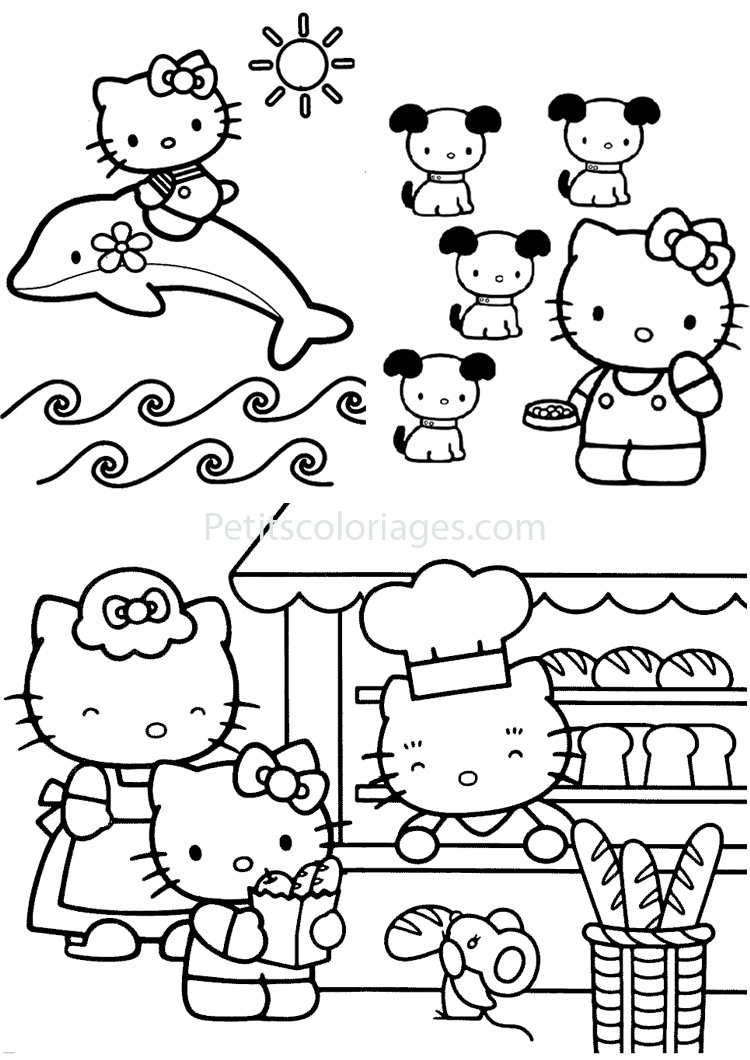 Petits coloriages hello kitty dauphin,chien,souris,boulangerie