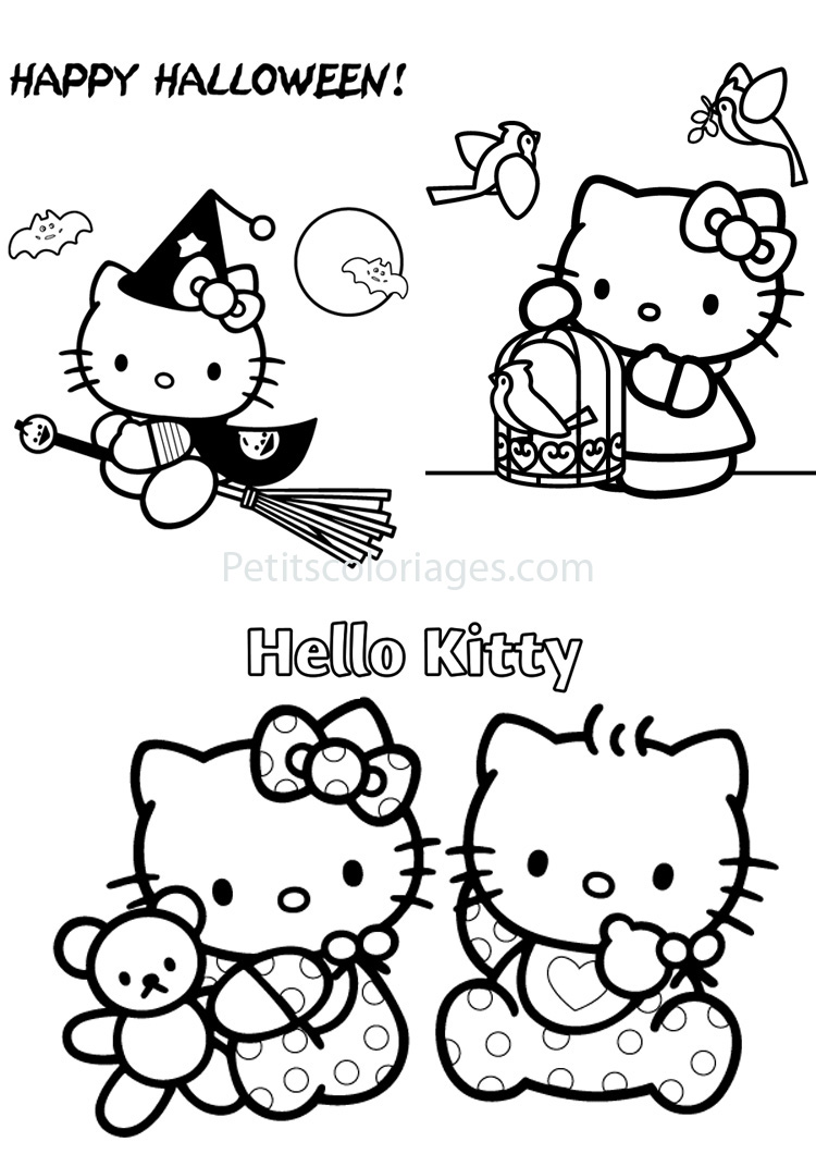 Petits coloriages hello kitty halloween,sorcière,bébé,oiseaux