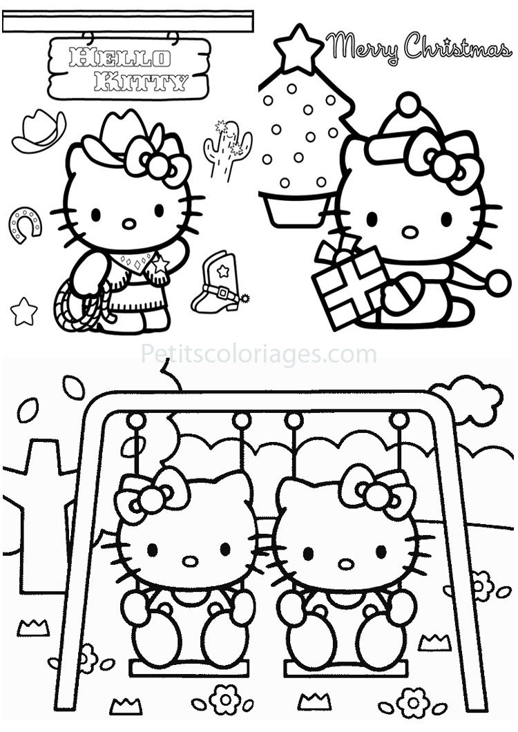 Petits coloriages hello kitty noël,cowboy,balancoire