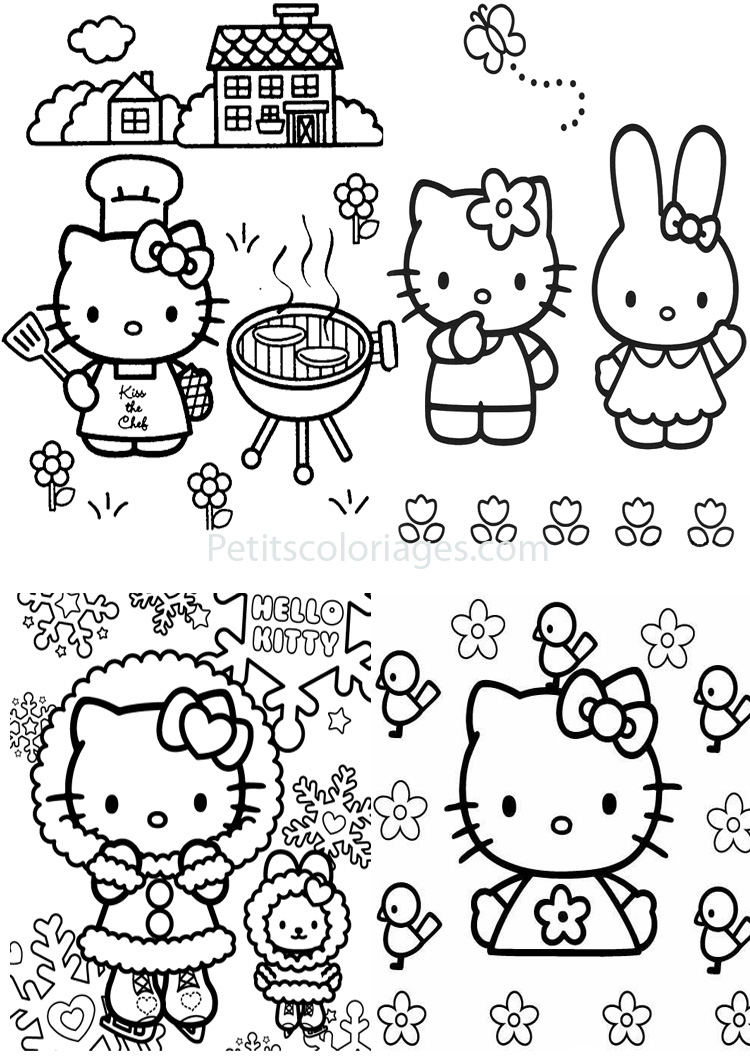 Petits coloriages hello kitty lapin,maison,patinoire