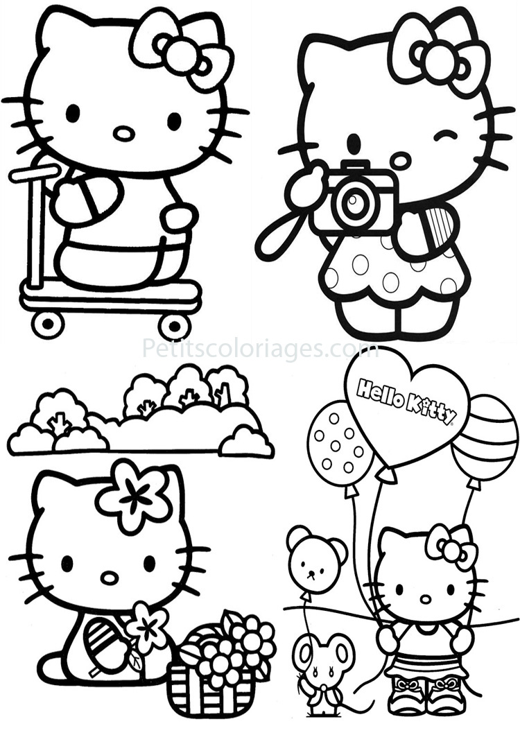 4 coloriages hello kitty trotinette ballon photo souris - Hello kitty jeux coloriage ...