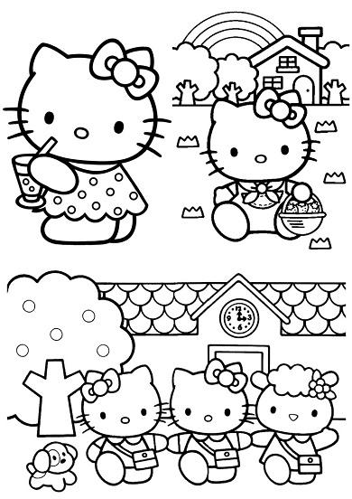 4 petits coloriages hello kitty : maison,mouton,chien
