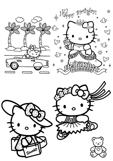 4 petits coloriages hello kitty : princesse,voiture,danseuse