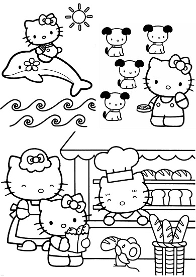 4 petits coloriages hello kitty : dauphin,chien,souris,boulangerie