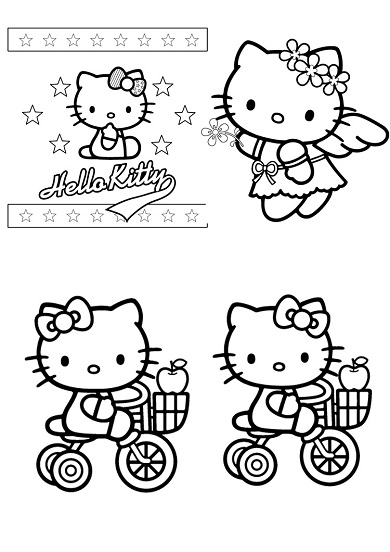 4 petits coloriages hello kitty : ange,vélo,pomme