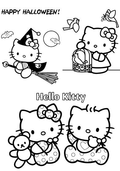4 petits coloriages hello kitty : halloween,sorcière,bébé,oiseaux