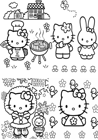 4 petits coloriages hello kitty : lapin,maison,patinoire
