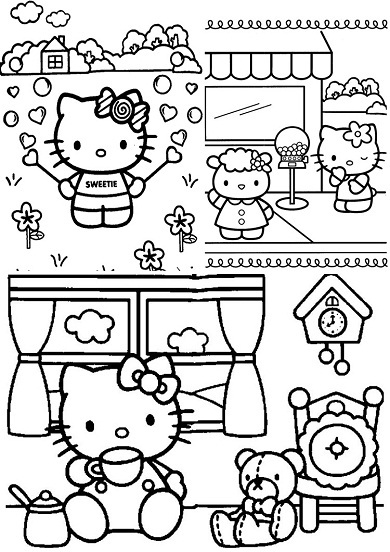 4 petits coloriages hello kitty : mouton,coeur,bulles,nounours