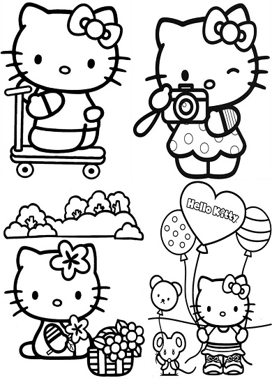 4 petits coloriages hello kitty : trotinette,ballon,photo,souris