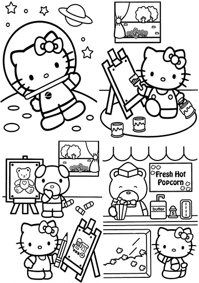 4 petits coloriages hello kitty : astronaute,dessin,peinture